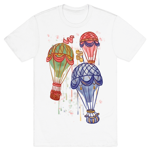 Watercolor Balloon Trip Mens T-Shirt