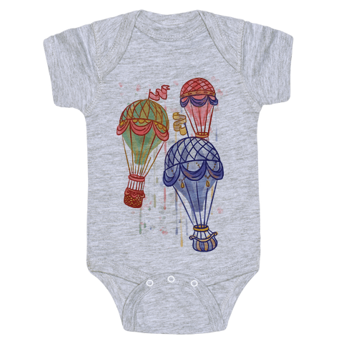 Watercolor Balloon Trip Baby Onesy