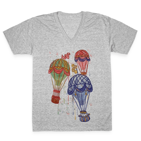 Watercolor Balloon Trip V-Neck Tee Shirt