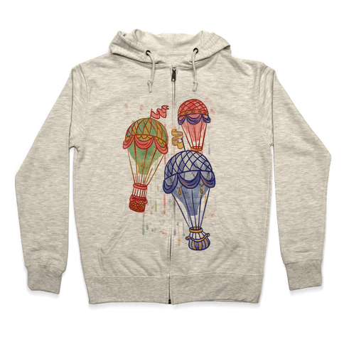 Watercolor Balloon Trip Zip Hoodie
