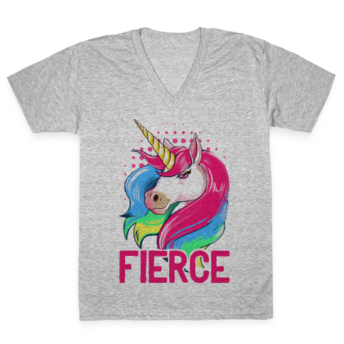 Fierce Unicorn V-Neck Tee Shirt