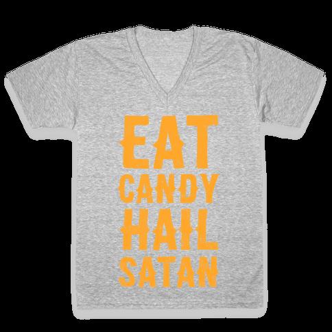 Eat Candy Hail Satan V-Neck Tee Shirt