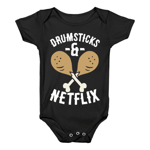 Drumsticks And Netflix Baby Onesy