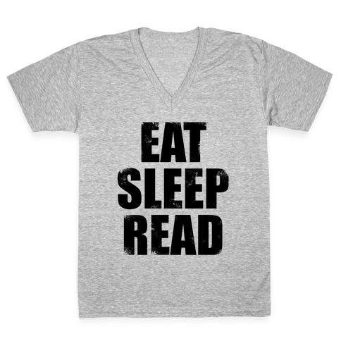 Eat Sleep Read V-Neck Tee Shirt