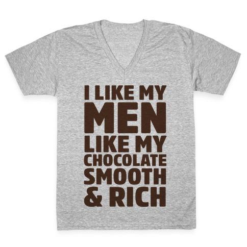 I Like My Men Like My Chocolate V-Neck Tee Shirt