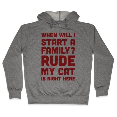 When Will I Start A Family? Rude My Cat Is Right Here Hooded Sweatshirt