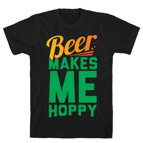 Beer Makes Me Hoppy Mens T-Shirt