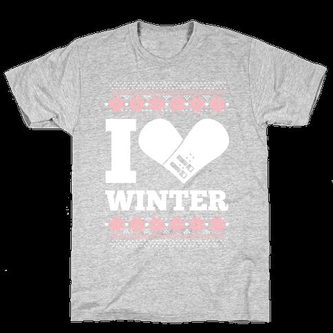 I Love Winter (Snowboard Heart) Mens T-Shirt