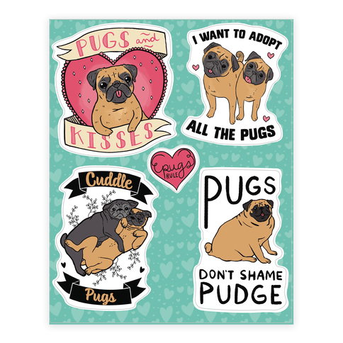 Cute Pug  Sticker/Decal Sheet