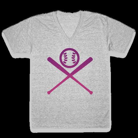 Baseball V-Neck Tee Shirt