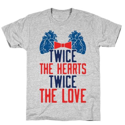 Twice The Hearts, Twice The Love Mens T-Shirt
