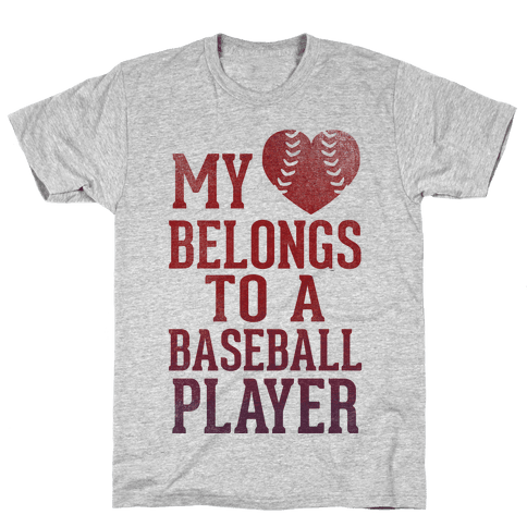 My Heart Belongs To A Baseball Player (Red Tank) Mens T-Shirt