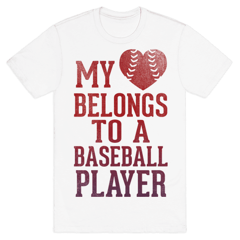 My Heart Belongs To A Baseball Player (Red Tank) Mens T-Shirt