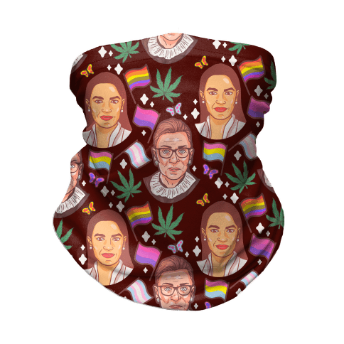 AOC, RGB, Weed, Pride, and Butterflies Pattern Neck Gaiter