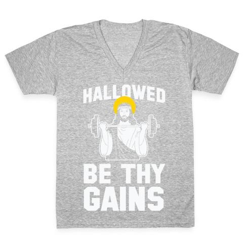 Hallowed be thy Gains V-Neck Tee Shirt