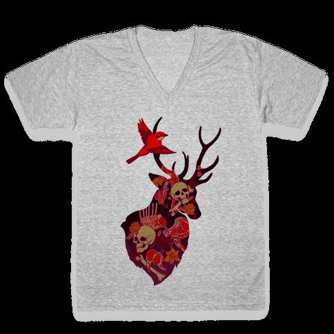 The Shrike & The Stag V-Neck Tee Shirt