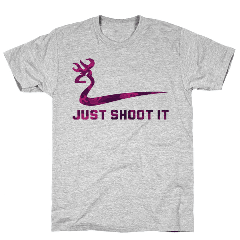 Just Shoot It Pink (V-neck) Mens T-Shirt
