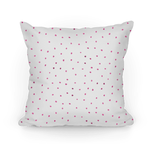 Pink Watercolor Polka Dots Pillow