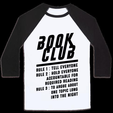 Book Club Rules Baseball Tee