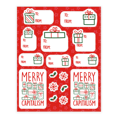 Merry Capitalism Gift Tag Sticker and Decal Sheet