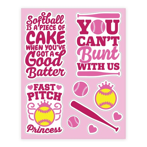 Softball Girls Sticker and Decal Sheet