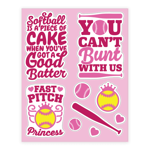 Softball Girls  Sticker/Decal Sheet