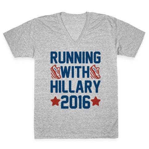 Running With Hillary 2016 V-Neck Tee Shirt