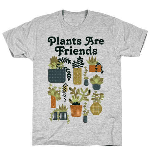 Plants Are Friends Retro Mens T-Shirt