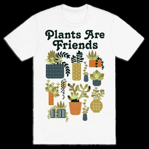 Plants Are Friends Retro Mens T-Shirt