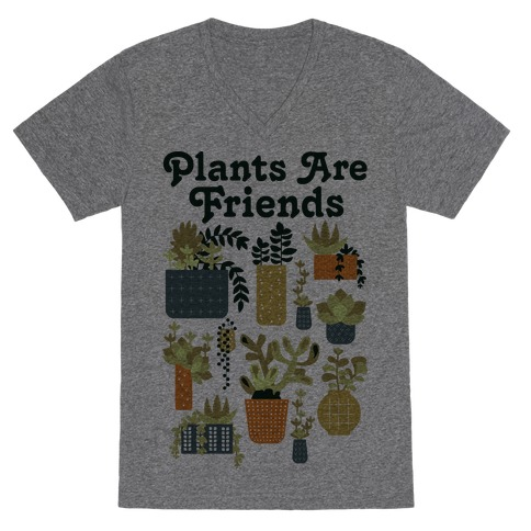 Plants Are Friends Retro V-Neck Tee Shirt