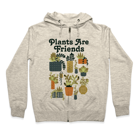 Plants Are Friends Retro Zip Hoodie