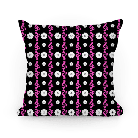 Black and Pink Flowers and Filigree Stripes Pillow