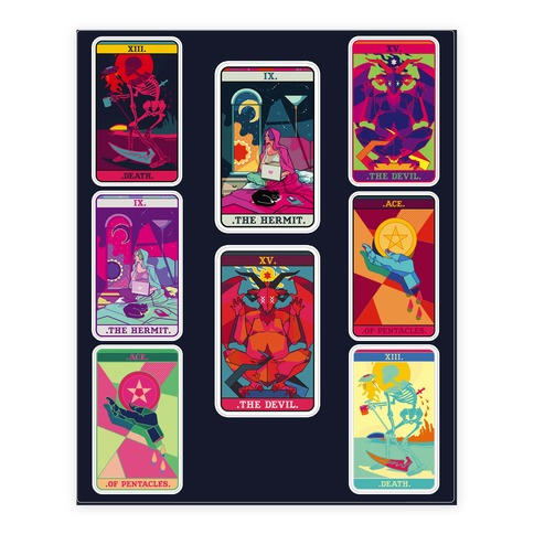 Tarot Card Sticker and Decal Sheet