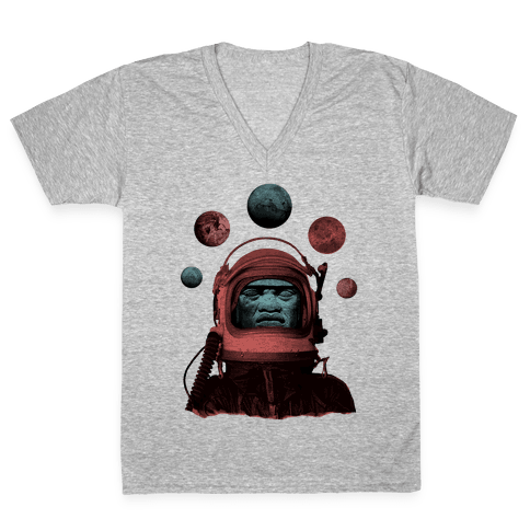 Space Olmec V-Neck Tee Shirt