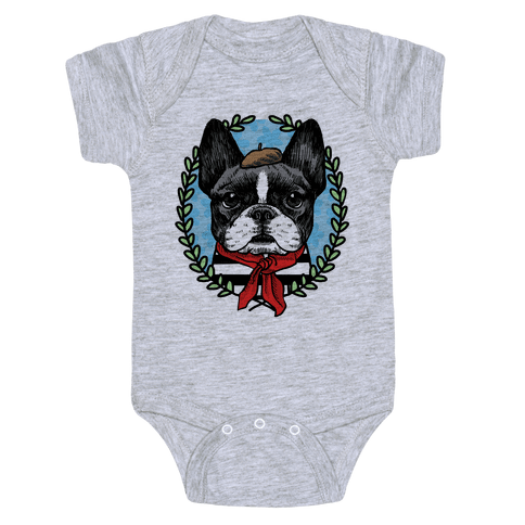French Bulldog Illustration Baby Onesy