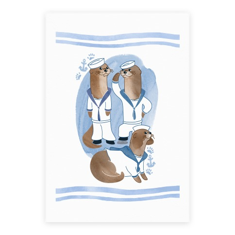 Sea Sailor Otters Poster