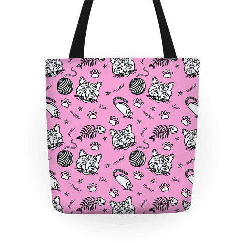 Cats and Cat Toys Pattern Tote