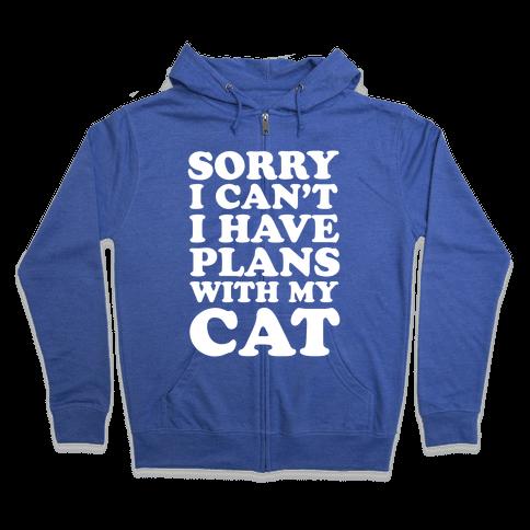 Cat Plans Zip Hoodie