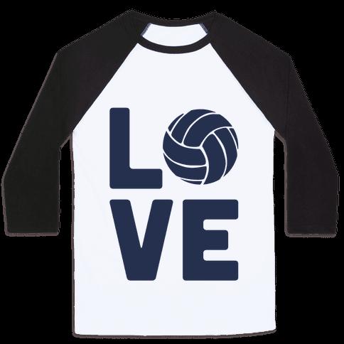 Love Volleyball (Athletic V-Neck) Baseball Tee