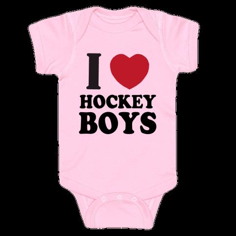 I Love Hockey Boys Baby Onesy