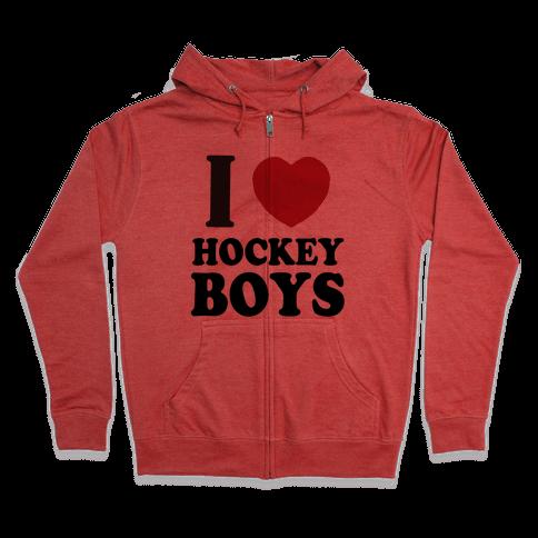 I Love Hockey Boys Zip Hoodie