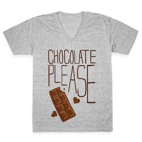 Chocolate Please (Tank) V-Neck Tee Shirt