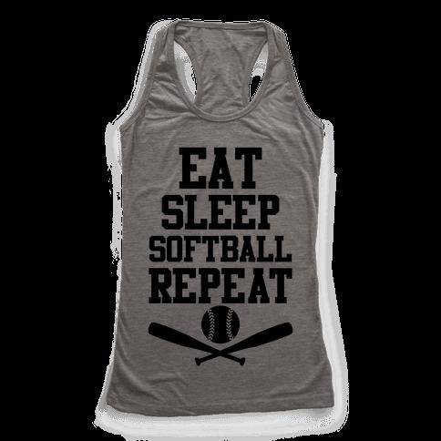 Eat Sleep Softball Repeat Racerback Tank Top