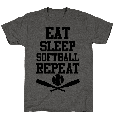 Eat Sleep Softball Repeat Mens T-Shirt