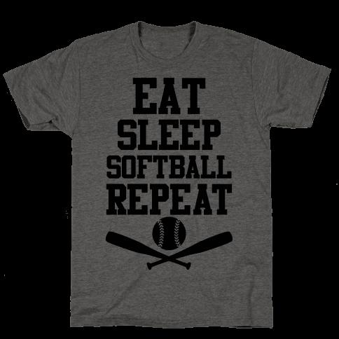 Eat Sleep Softball Repeat Mens T-Shirt