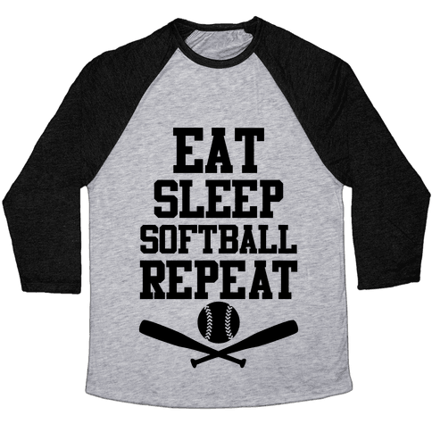 Eat Sleep Softball Repeat Baseball Tee