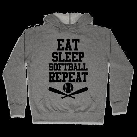 Eat Sleep Softball Repeat Hooded Sweatshirt