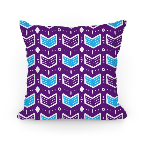 Purple and Blue Tribal Doodle Pattern Pillow