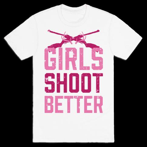 Girls Shoot Better (Rifle) Mens T-Shirt