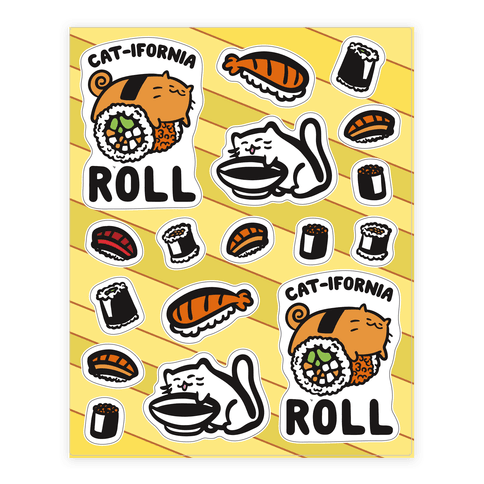 California Cat Roll and Sushi  Sticker/Decal Sheet
